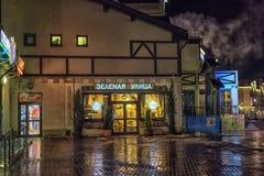 Город освещает с освещением и отражением ночи в paveme Стоковая Фотография