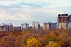 Город осени, взгляд от высоты Стоковая Фотография RF
