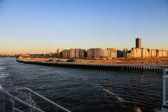 Город Остенде в лучах захода солнца Стоковое Изображение RF