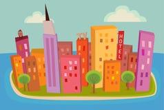 Город острова иллюстрация штока