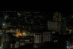 Город Паттайя в twilight времени и времени полночи, Таиланде Стоковое фото RF