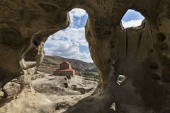 Город пещеры Uplistsikhe, Georgia стоковые изображения rf
