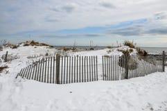 Город портового района зимы, океана, Нью-Джерси Стоковое фото RF