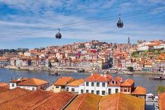 Город Порту и река Дуэро, фуникулер, взгляд от Vila Новы de Gaia стоковое изображение