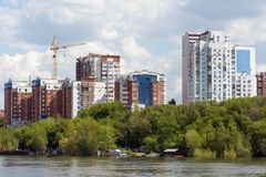 Город самары с Рекой Волга Стоковые Изображения RF