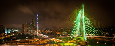 Город Сан-Паулу на ноче Стоковое Изображение RF