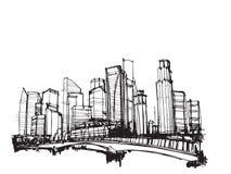 Город Сингапура вектора эскиза чертежа свободной руки панорамный Стоковое Изображение