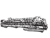 Город Сингапура эскиза чертежа свободной руки панорамный Стоковые Фото