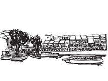 Город Сингапура эскиза чертежа свободной руки панорамный Стоковые Изображения