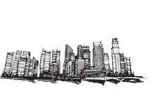 Город Сингапура эскиза чертежа свободной руки панорамный Стоковые Фотографии RF