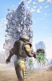 Город солдата и чужеземца астронавта Стоковое Изображение