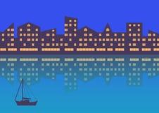 Город с освещением вечера абстрактная предпосылка Горизонтальный состав иллюстрация штока