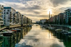 Город Франкфурта в сумраке Стоковые Фото