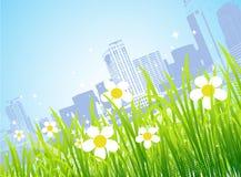город цветет весна иллюстрация вектора