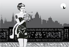 город цветет женщина ночи бесплатная иллюстрация