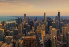 Город Чикаго и озеро Мичиган, Чикаго, Иллинойс, США Стоковая Фотография