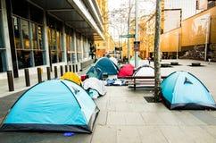 Город шатра в центре ` места Мартина ` Сиднея CBD те шатры для бродяги стоковое фото