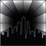 город 3D вечером иллюстрация вектора