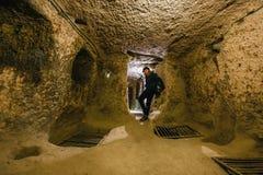 Город Kaymakli подземный содержится внутри цитадель Kaymakli в центральной зоне Анатолии Турции Стоковое фото RF