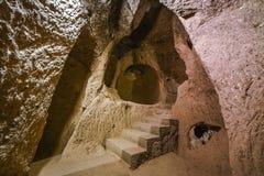 Город Kaymakli подземный содержится внутри цитадель Kaymakli в центральной зоне Анатолии Турции Стоковые Изображения