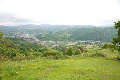 Город Langreo от горы Стоковая Фотография RF