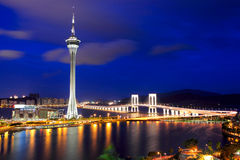 Город Macau на ноче стоковое изображение