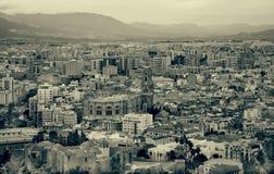 город malaga над взглядом Испании Стоковые Фотографии RF