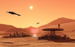 Город Mars Стоковое Изображение