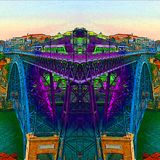 Город Oporto - Португалия - цвета реки Дуэро иллюстрация штока
