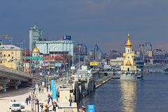 Город Poshtova Ploscha Киева стоковая фотография