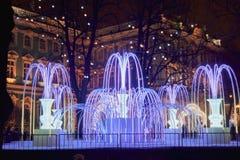 Город ` s Нового Года ночи Стоковое Изображение