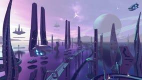 Город scj-fii чужеземца с неоновыми цветами перевод 3d стоковое изображение