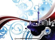 город shanghai фарфора иллюстрация вектора