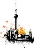 город shanghai фарфора бесплатная иллюстрация