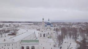 Город Suzdal Собор Девственниц-рождества kremlin сток-видео