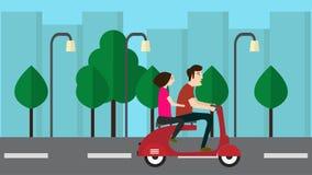 Город vespa праздника человека и женщины бесплатная иллюстрация