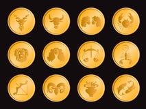 Гороскоп в дизайне вектора знака значка монетки круга золота установленном Стоковые Фото