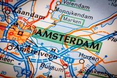 Город Амстердама на дорожной карте Стоковое Изображение RF