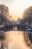 Город Амстердама, река Стоковая Фотография RF