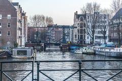 Город Амстердама, река Стоковое Изображение RF