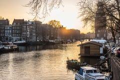 Город Амстердама, река Стоковые Изображения RF