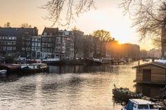 Город Амстердама, река Стоковое Изображение