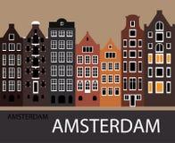 Город Амстердам вечера Стоковое Фото