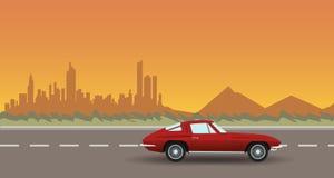 Город ландшафта дороги автомобиля на заходе солнца Плоская иллюстрация вектора Стоковые Изображения
