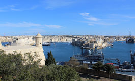 3 города как увидено от Валлетты, Vittoriosa, Senglea, Cospicua, Мальты стоковая фотография