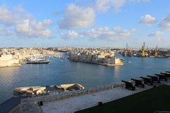 3 города как увидено от Валлетты, Vittoriosa, Senglea, Cospicua, Мальты стоковые фото