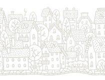 Города картина горизонтально безшовная с крышами Стоковое фото RF