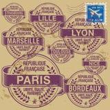 Города Франции штемпеля установленные иллюстрация вектора