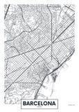 Город Барселона карты плаката вектора Стоковые Изображения RF