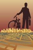 город велосипедиста Стоковые Изображения RF